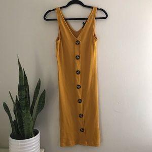 Derek Heart - Yellow Sleeveless Bodycon Midi Dress